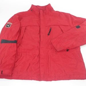 Tommy Hilfiger Red Winter Coat Ski Jacket Patches
